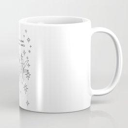 My Dreams Manifest in the Material World | Minimal Linear Art | Peony & Hand | Stars | Motivational Coffee Mug