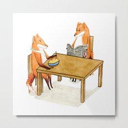 Foxy Dinner Metal Print