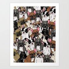 Social Frenchies Art Print