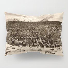 Detroit Michigan Bird's Eye Map Pillow Sham
