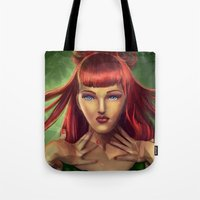 poison ivy Tote Bags featuring Poison Ivy by Valérie Loetscher (Vay)