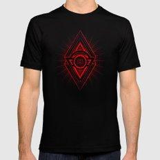 The Eye of Providence is watching you! (Diabolic red Freemason / Illuminati symbolic) X-LARGE Black Mens Fitted Tee