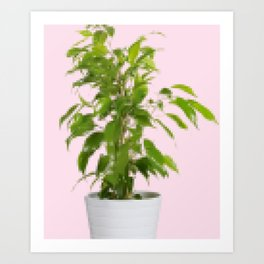 Pixelated Pot Plant Art Print