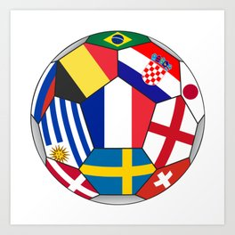 Football ball with various flags - semifinal and final Art Print