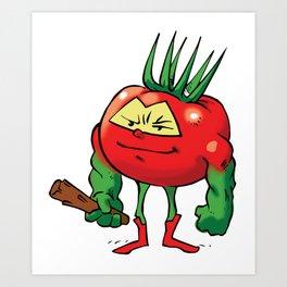 "Tomato ""The Barbarian"" Foodietoon Vegetable Superheroes Powerlifter Bodybuilder Art Print"