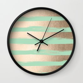 Painted Stripes Gold Tropical Ocean Green Wall Clock