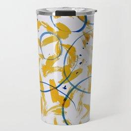 abstract paint pattern blue circle Travel Mug