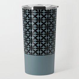 Black Square Petals Graphic Design Pattern on PPG Paint Artifact Blue Travel Mug