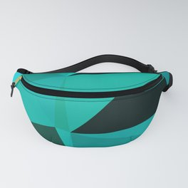 Turquoise Black Low Poly Geometric Triangles Mathematical Art Fanny Pack