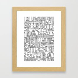 Ancient Greece black white Framed Art Print