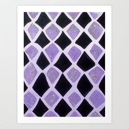 Purple and Black Diamonds Art Print