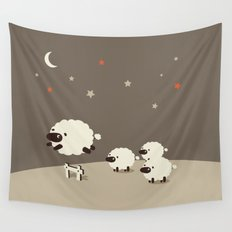 Sheeps jumping across a Fence Wall Tapestry