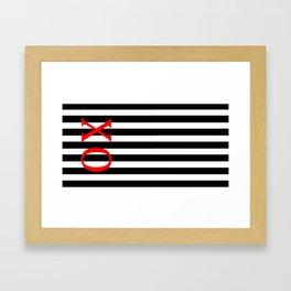 Red X O Black Stripes Framed Art Print