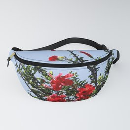 hibiscus tree on the blue sky Fanny Pack
