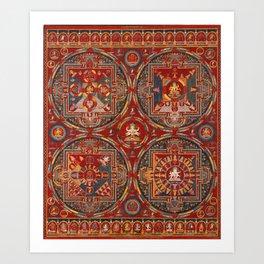 Four Mandalas of the Vajravali Series Art Print