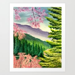 Cherry trees in spring Art Print