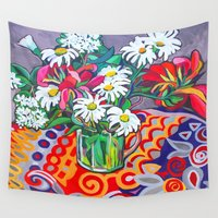 daisies Wall Tapestries featuring Daisies by marlene holdsworth