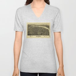Aerial View of California, Pennsylvania by T.M. Fowler (1902) Unisex V-Neck