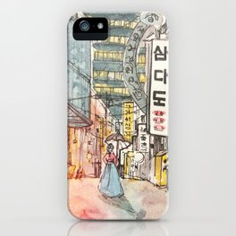 South Korean street cafe  shops illustration with girl in hanbok iPhone Case