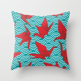 Origami red paper cranes sketch. burgundy maroon line Nature oriental Throw Pillow