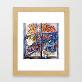 Firehorse at my window Framed Art Print