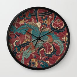 Flowery Arabic Rug I // 17th Century Colorful Plum Red Light Teal Sapphire Navy Blue Ornate Pattern Wall Clock