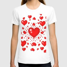 RED HEARTS  MIRAGE SURREAL LANDSCAPE T-shirt