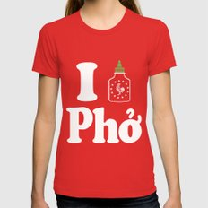 I Heart Pho LARGE Womens Fitted Tee Red