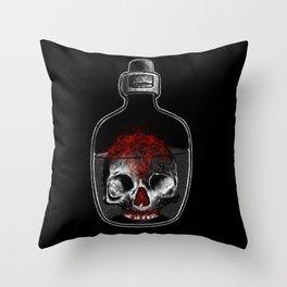 Skull in bottle Throw Pillow