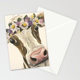 Cow Art, Flower Crown Cow Art Stationery Cards