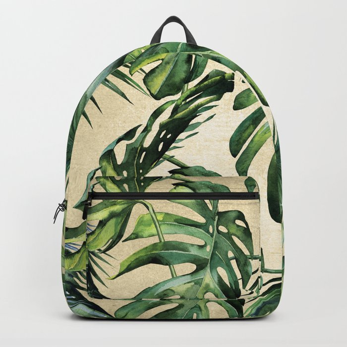 Palm Leaves Greenery Linen Backpack