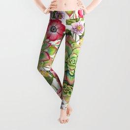 Watercolor Succulents #47 Leggings