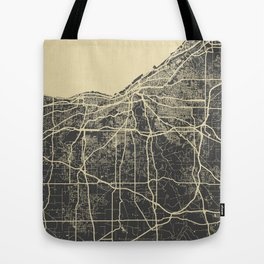 Cleveland map yellow Tote Bag
