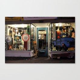 Local Shop at Night Canvas Print