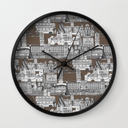 London toile mocha Wall Clock