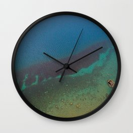 Lake Hawea lake wakatipo blue crystal clear panorama blue vertical_ Wall Clock