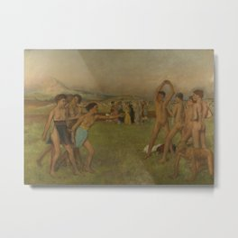 Young Spartans Exercising Metal Print