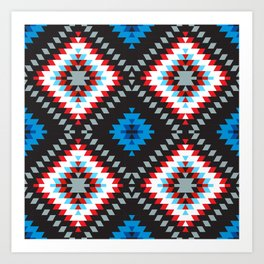 Colorful patchwork mosaic oriental kilim rug with traditional folk geometric ornament. Tribal style Art Print