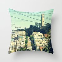 san francisco Throw Pillows featuring San Francisco by Mr and Mrs Quirynen