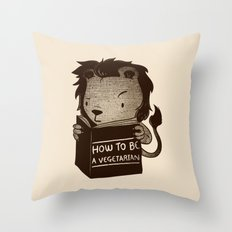 Lion Book How To Be Vegetarian Throw Pillow