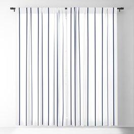 Classic Blue Baseball Stripe Lines On White Blackout Curtain