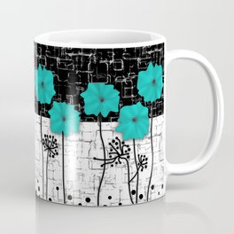 Turquoise flowers on black and white background . Coffee Mug