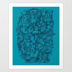 Blue Doodle Art Print