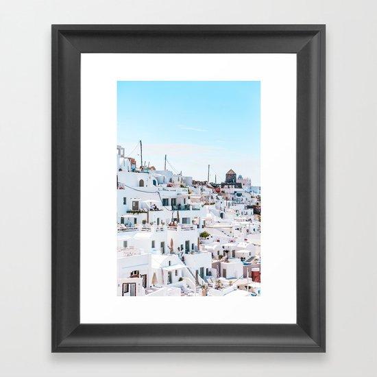 Blur Dandelion In The Sky Framed Art Print By Artlindley: Santorini Greece Ligh Blue Sky Framed Art Print By