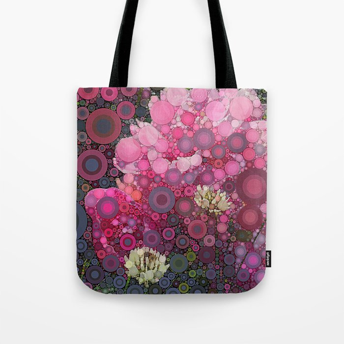 Pink Flowers at Twilight Abstract Tote Bag