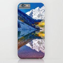 Fall Season at Maroon Bells Panorama iPhone Case