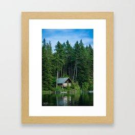 Lakeside Cabin Framed Art Print