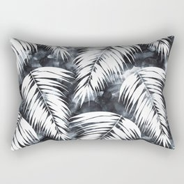 Maui Palm Black and White Rectangular Pillow