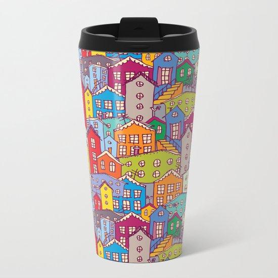 Cityscape Sketch Metal Travel Mug