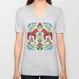 Swedish Dala Horses Red Unisex V-Neck